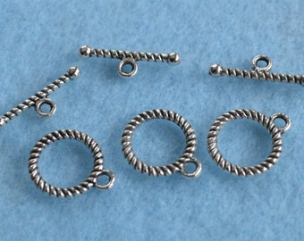 20pcs Clasp Antiqued Silver Pewter Toggle 13mm Round Bar And Ring