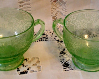 Vintage Vaseline Glass Sugar and Creamer