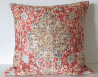 Ethan Allen Chakra Cinnabar sariz cerise red brown blue distressed velvet persian medallion damask decorative pillow cover
