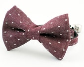 Cat Bow Tie Collar Burgundy Denim Dot