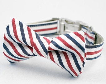 Bow Tie Dog Collar - Red, White and Blue Seersucker Stripe