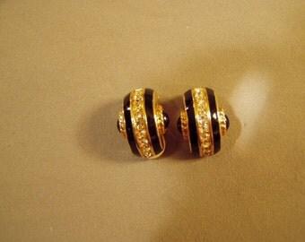 Vintage 1980s Swarovski Swan Mark Clip Earrings Black Enamel & Stones Rhinestones  7968