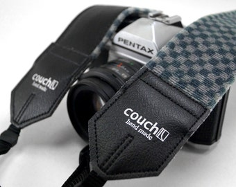 The 80's American Checkers Camera Strap- Checkered Steel & Light Grey