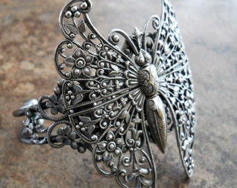 Victorian Antiqued Silver Filigree Butterfly Cuff Bracelet Exclusive Design, Butterfly Bracelet