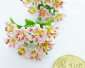 Blossom Madonna Lily with leaves, Miniature Polymer Clay Flowers, 12 stems