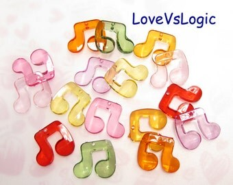 Wholesale. 72 Musical Note Facet Acrylic Charms. Juicy Candy Tone. Mix Colors