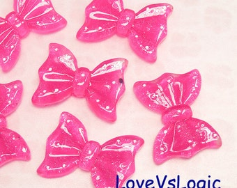 4 Glitter Ribbon Bow with Dots Lucite Cabochons. Fuchsia Tone