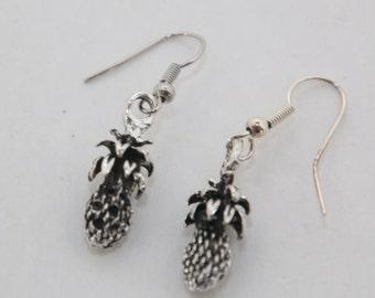 Silver Pineapple Dangle Earrings