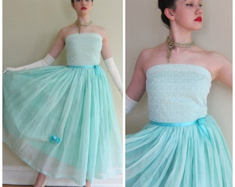 Vintage 1950s Mint Blue Strapless Party Dress / 50s Prom Dress in Aquamarine Organza Silk / Small