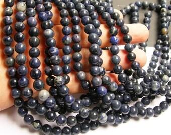 Dumortierite - 8 mm round beads -1 full strand - 50 beads - RFG215