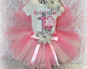Girls Birthday Tutu Outfit Pink & Silver or Brown Cupcake 3 Piece 1st, Second with Shirt or Bodysuit TuTu, and Hair Piece Pick Size, Colors