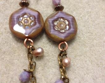 EARRINGS, CZECH, FIREPOLISH, Vintage Chain, Brass, Dangle, Freshwater Pearls, Copper