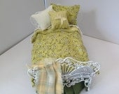 Dolls House Luxury Dressed white wire 112th Single Bed  Elin