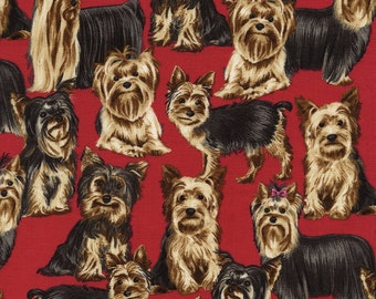 Yorkshire Terrier Dog Fabric/Yorkie Timeless Treasures by Hot Diggity Dog Fabrics