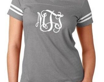 Monogrammed Football Jersey Tee Ladies Tshirt