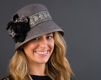 Grey Cloche Hat with Black and Grey trim