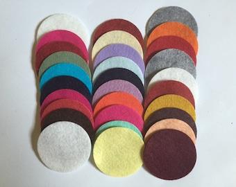 Wool Felt Circles 30 - 2 inch Random Colored 2678 - felted circle - circle die cut - headband supplies