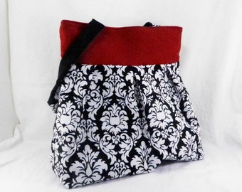 Slouch Bag, Large Purse, Black and White, Dandy Damask, Michael Miller, Diaper Bag, Overnight Carry All