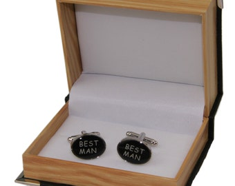 "Men's ""Best Man"" Cufflinks and Gift Box ~ Wedding Cuff Links"