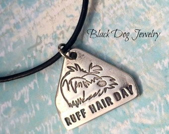 Silver Metal Clay Ruff Hair Day Dog Lover Necklace - Unique Hairdresser Or Pet Owner Gift