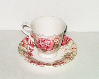 Vintage Nikko Tableware Summer Glade Footed Cup Saucer 3 available Pink Roses Floral Romantic Shabby Chic Dinnerware Serving Wedding Tea