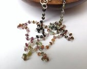 Watermelon tourmaline, tourmaline necklace, lots of colours, colourful beaded necklace, sterling silver, wear everyday, modern jewellery