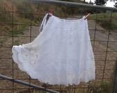 """white crochet boho hippy skirt, up to 20"""" waist/ hip"""