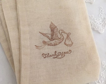 Stork Thank You Bags Favor Muslin Bags Baby Shower Set of 10 Neutral Boy or Girl
