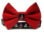 Nautical Sailboats Bow Tie Dog Collar in Navy Blue Red and White with Nickel Plate Hardware