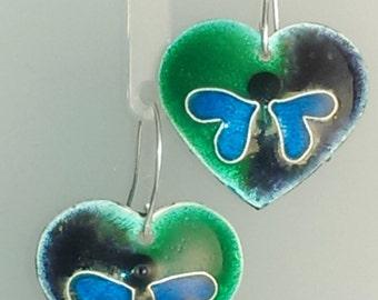 Blue Skies Enameled Heart Earrings - Butterflies