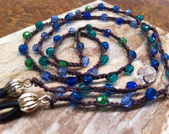 Beaded EYE GLASS necklace Czech glass beads blues and greens pretty functional feminine crocheted