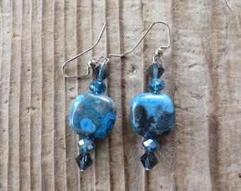 Dangling Blue Jasper and Crystal Earrings