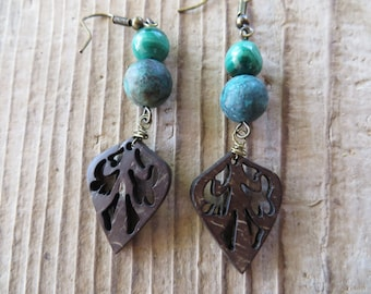 Natural Wooden Leaves with Malachite and Jasper Drop Earrings