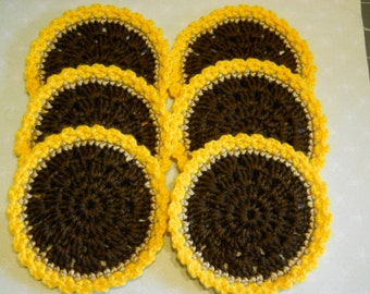 Coasters Set of 6 Crochet in Sunflower Colors