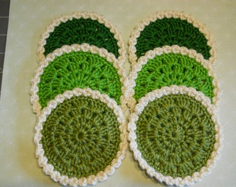 Coasters Set of 6 Crochet in Dark Green, Olive Green, Bright Green Yarn