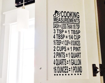 Kitchen Quote, Kitchen Decoration,  Cooking Measurements Decal, Kitchen Cupboard, Pantry or Wall Decor, Measurement Conversion, Gift