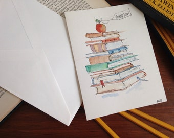 """Hand painted original watercolor greeting card w/ envelope, 5 x 7"""" blank, Thank You, Teacher, Librarian, Graduation"""