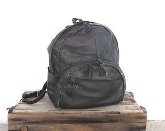 Vintage Worn In Black Leather Medium Backpack