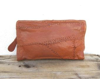 Vintage Rugged Patchwork Cognac Leather Medium Envelope Zip Clutch