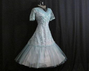 Vintage 1950's 50s Turquoise Blue Metallic Silver Floral Lace Tulle Party Prom Wedding Dress RARE Large  Size