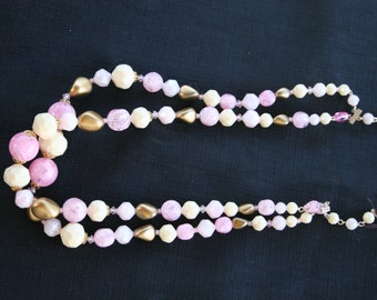 Vintage Pink, White & Gold Beaded Necklace