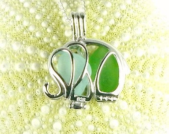 Sterling Silver Elephant Necklace GENUINE Sea Glass Jewelry In Locket Blue And Green