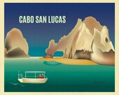 Cabo San Lucas Print, Lover's Beach Cabo, Mexico Art Print, Horizontal Travel Wall Art, Mexico Honeymoon Vacation Art - style E8-O-CAB