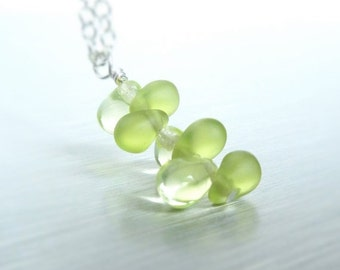 Sprout necklace - small pale peridot green glass fern frond sprout growing on a delicate silver chain - New Day Beginning - gifts under 25
