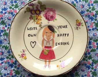 Sophie Baker Bunny Write Your Own Happy Ending Vintage Illustrated Plate