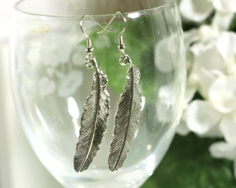 Large Silver Feather Charm Earrings -