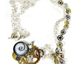 Steampunk Necklace with Stamped Sprocket, Vintage Watch Parts, and Silver Chain