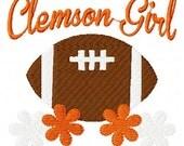 Clemson Girl Football Machine Embroidery Design Joyful Stitches // Joyful Stitches