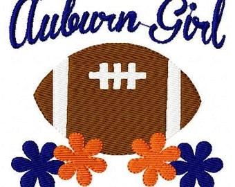 Auburn Girl Football Machine Embroidery Design Joyful Stitches // Joyful Stitches