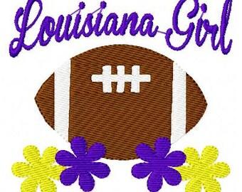 Louisiana Girl Football Machine Embroidery Design Joyful Stitches // Joyful Stitches